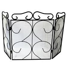 Fire Guards,Spark Screens  Inglenook 3 Fold Black Heavy Wrought Iron Screen Flames - Flying Dutchman Stores