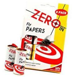 8 pack of fly papers is a great way to get rid of unwanted flies without using poison sprays.   Each paper is baited with an insect attractant.   Great for use indoor and outdoor the Zero In Fly Papers are proven to kill 30% more flies than other brands.