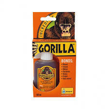 Gorilla Glue is a polyurethane glue When exposed to moisture, the adhesive reacts and creates a foaming action that fills whilst it sticks