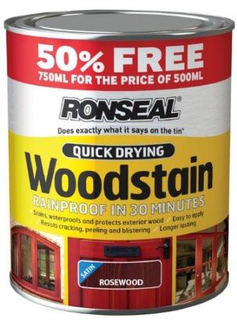 Ronseal Quick Drying Woodstain Satin - Walnut - 500ml Plus 50% - Flying Dutchman Stores