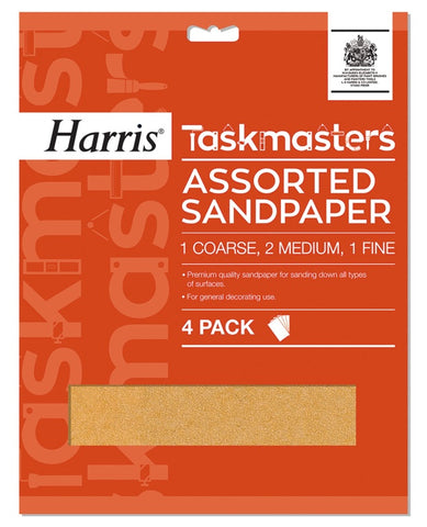 Harris Taskmasters Assorted Sandpaper - 4 Pack - Flying Dutchman Stores