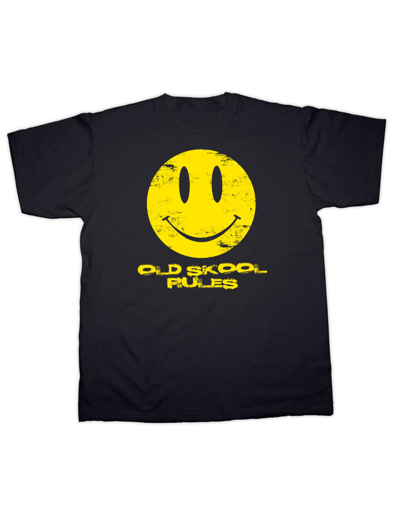 Old Skool Rules Acid House Smiley Face T Shirt