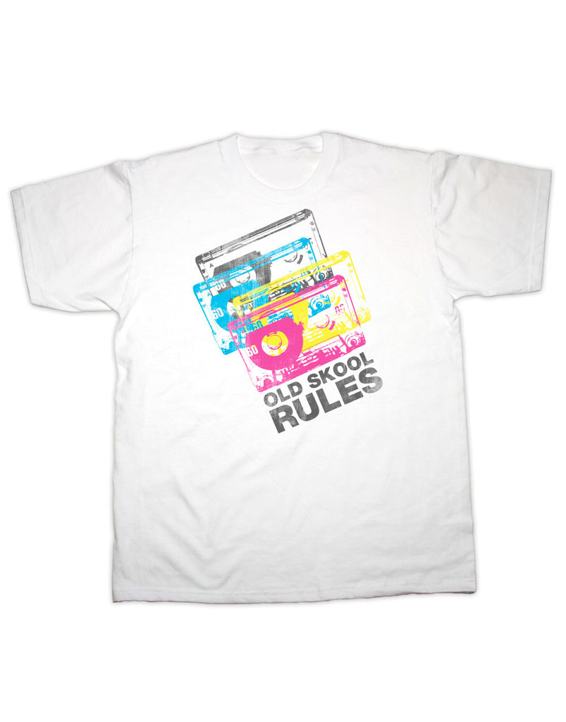 Old Skool Rules Cassette Tape 4 Colour T Shirt