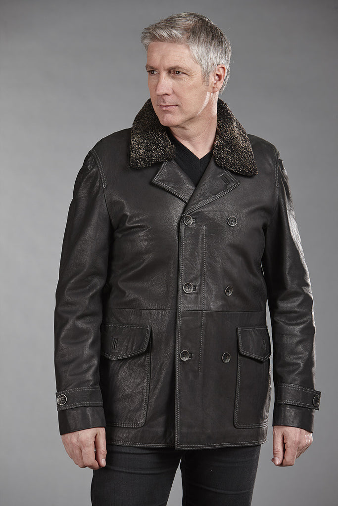 4815 Black Stonewash Lambskin with Detachable Sheepskin Collar