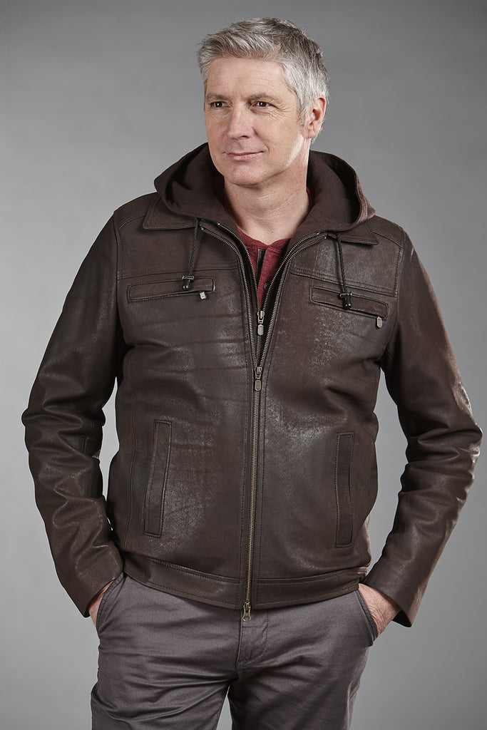 4844C Brown Stonewashed Lambskin with Brown Hoodie - Size 44