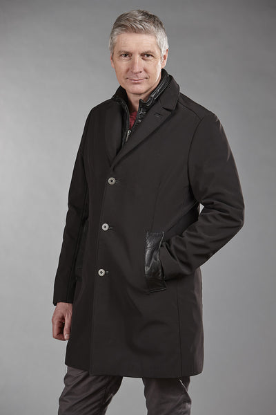 # 4859 Black ClimaFlo Softshell with Black Lambskin Collar and Facing
