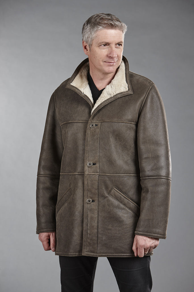 4861 Khaki Glazed Sheepskin with Olive Lambskin Trim