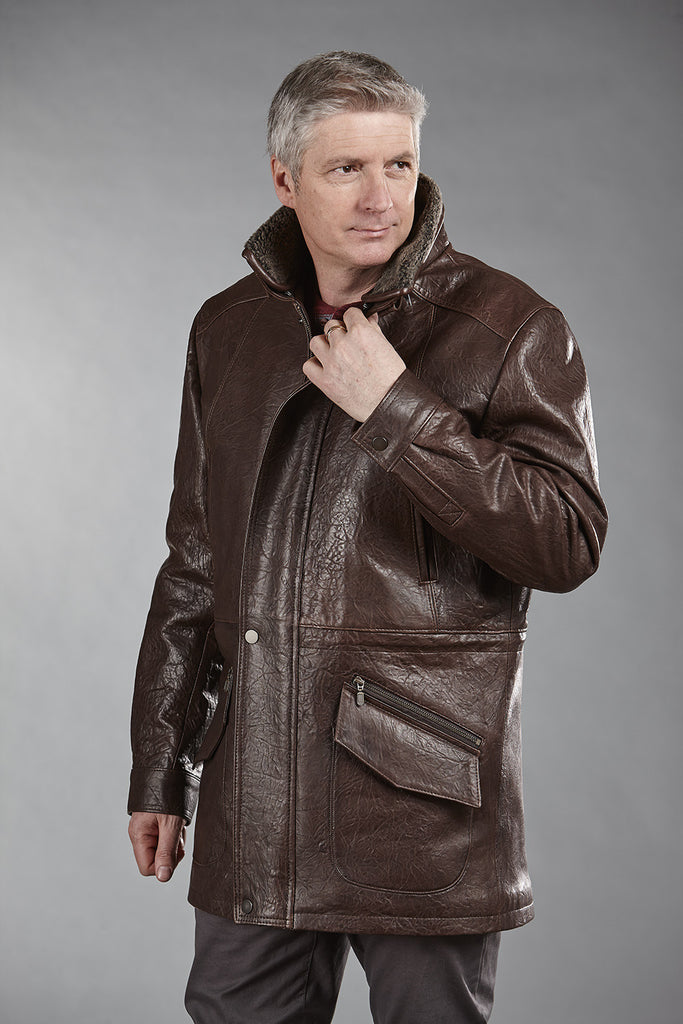 # 4866 Brown Marbre Lambskin with Shearling Collar