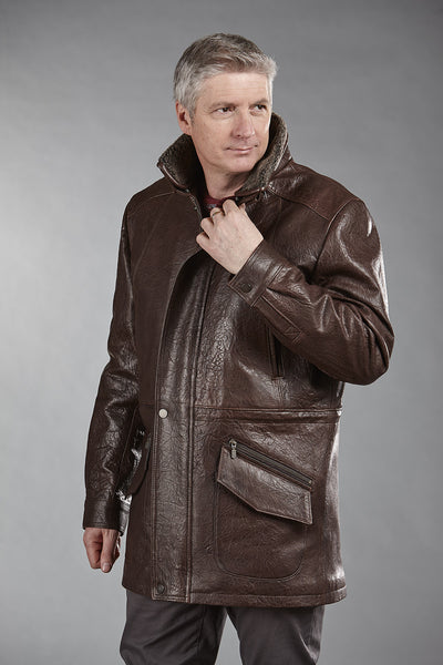 4866 Brown Marbre Lambskin with Shearling Collar