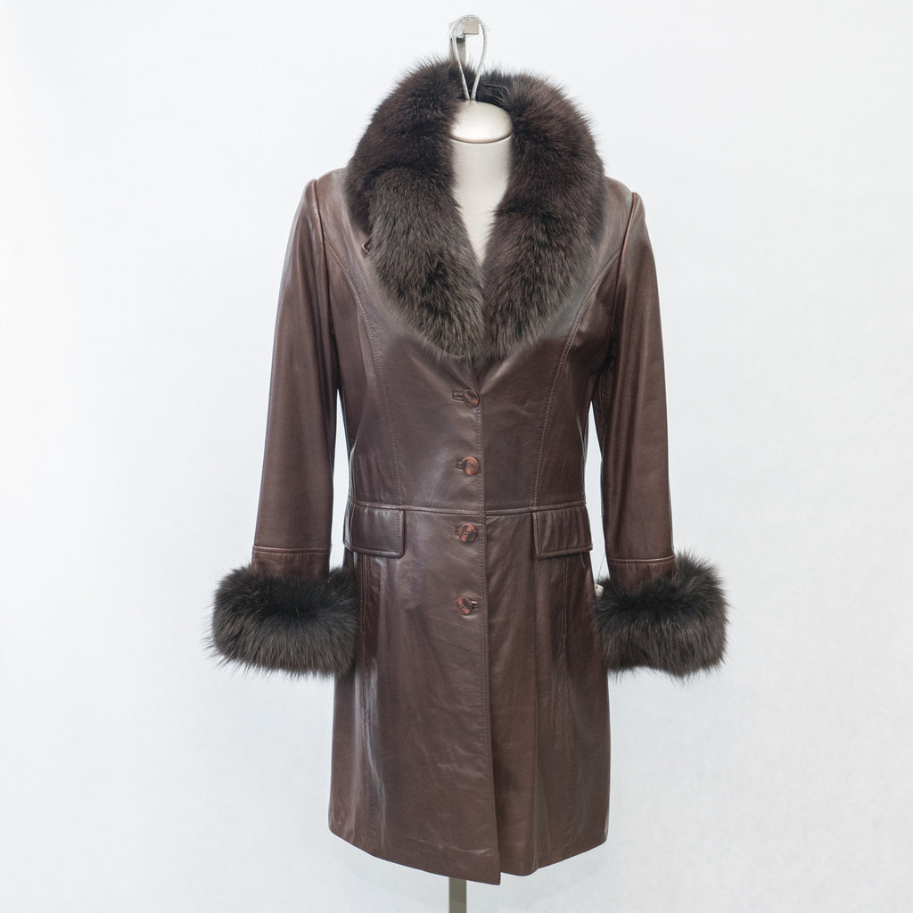 5896C Marron Lamb with Fox Fur Collar & Cuffs - Size 10