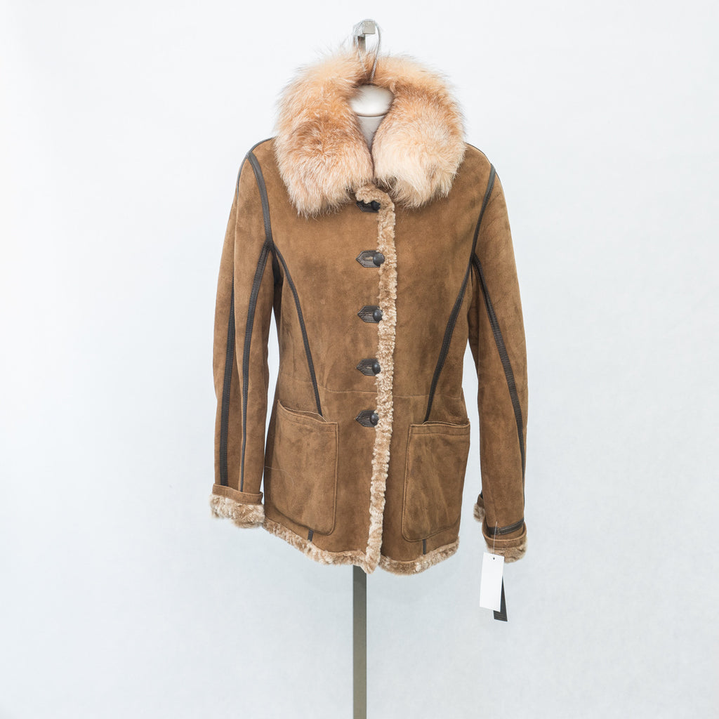 6032 Maple Glazed Reversible Shearling with Brown Leather Trim & Detachable Fox Collar - Size 10