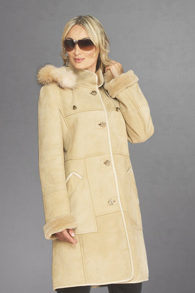 6038 Beige Glazed Sheepskin with Detachable Fox Trimmed Hood