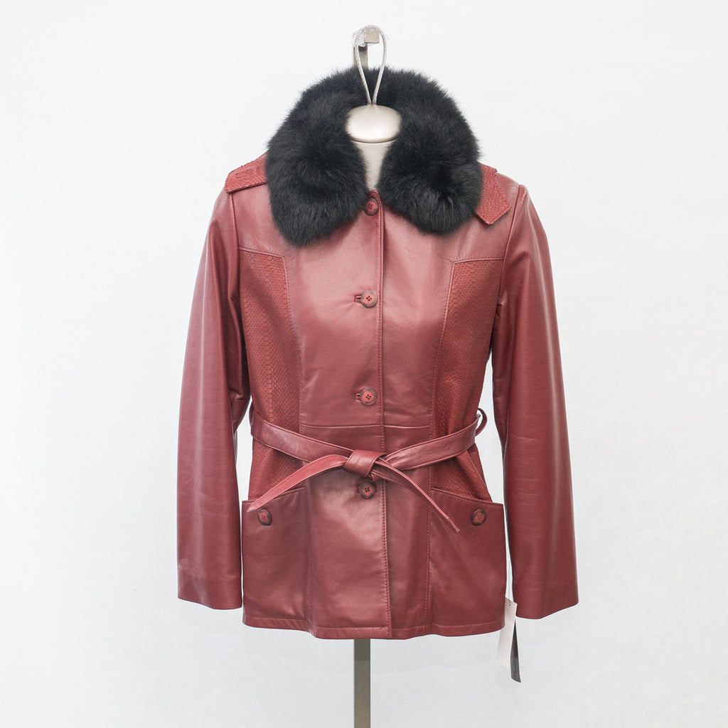 6062C - New Red Lamb with detachable Black Opossum Fur Collar - Size 10