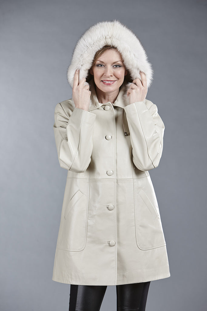 6065 Sand Lambskin with Detachable Fox Fur Hood