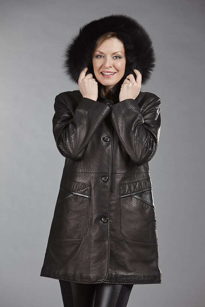 6066C Black Cobra Print Lambskin with Detachable Fox Fur Hood - Size 10