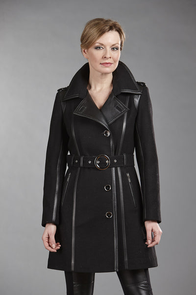 6077 Black Wool with Black Lambskin Trim