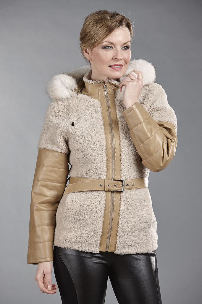 6089 Beige Snowtop Sheepskin with Honey Lambskin Trims & Detachable Fox Fur Hood