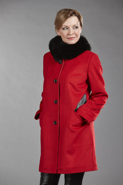 6103 Red Wool with Black Lambskin Cutouts w/ Optional Fox Fur Band