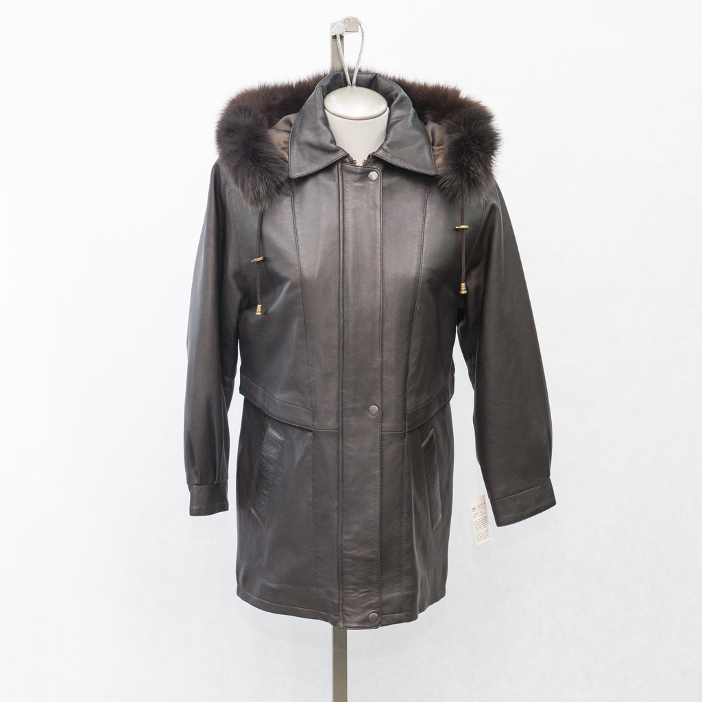 9027C Brown Lamb with Detachable Fox Fur Hood