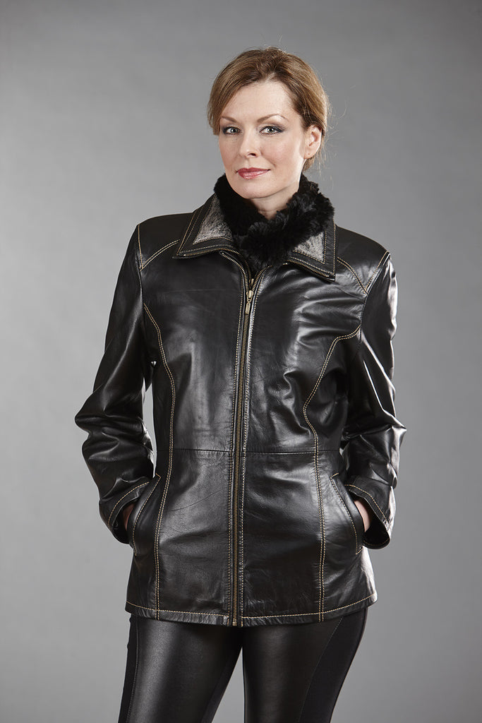 9066C Black Lambskin with Detachable Faux Fur Collar & Facing - Size Large