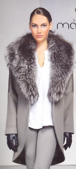 4537 Pearl Grey Wool w/Fox Fur Collar