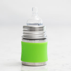 Non-Toxic Stainless Steel Baby Bottle (Green Sleeve) - 5 oz.