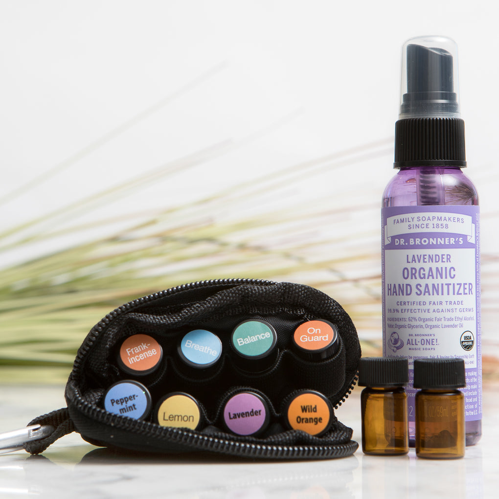 """READY FOR ANYTHING"" Essential Oils Travel Bag + Hand Sanitizer (Oils Included!)"