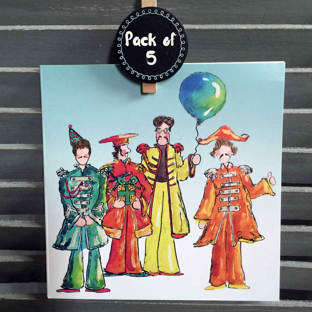 """Fab 4"" Pack of 5  - Greeting Cards - damedoodah.com  - Art and Design by Katie Rudge"