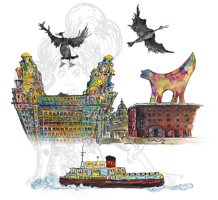 """Ferry 'Cross the Mersey""- Print - damedoodah.com  - Art and Design by Katie Rudge"