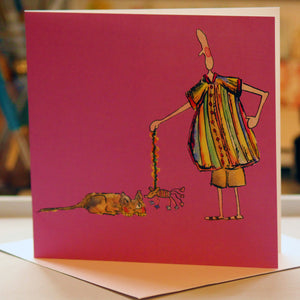 """Cat and Mousey"" - Greeting Card - damedoodah.com  - Art and Design by Katie Rudge"