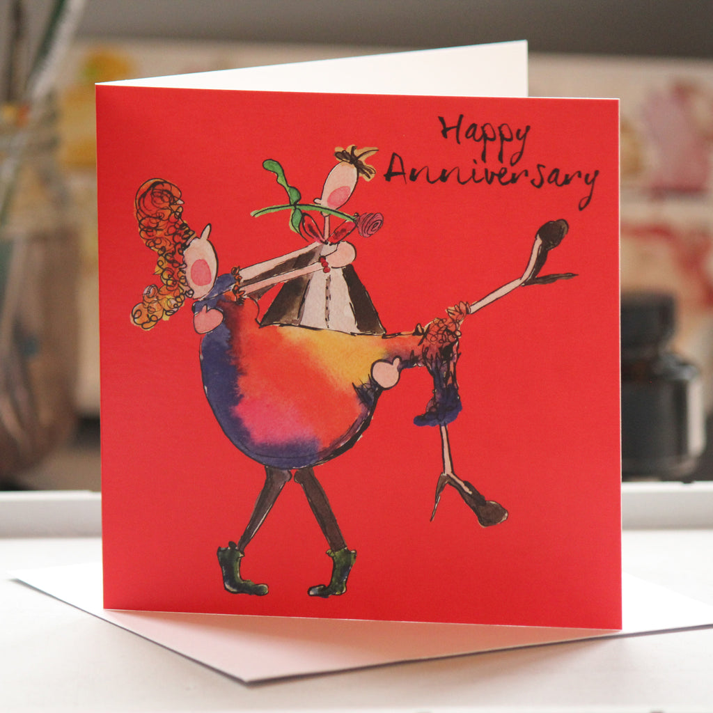 """Happy Anniversary"" Greeting Card - damedoodah.com  - Art and Design by Katie Rudge"