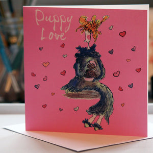 """Puppy Love"" Greeting Card - damedoodah.com  - Art and Design by Katie Rudge"