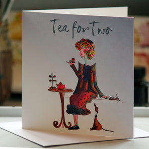 """Tea for Two"" - Greeting Card - damedoodah.com  - Art and Design by Katie Rudge"
