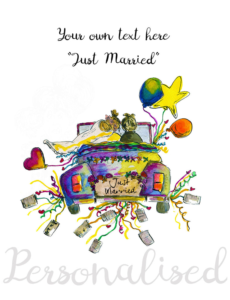 """Just Married"" - Personalised Print - damedoodah.com  - Art and Design by Katie Rudge"