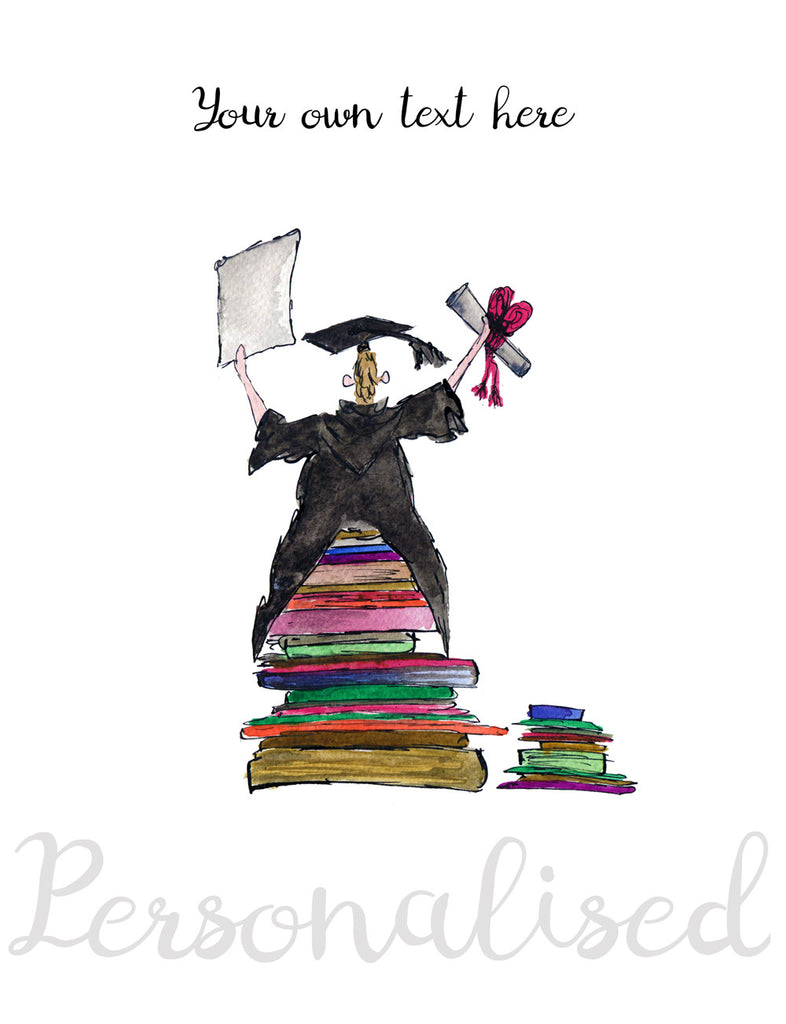 """Graduation Congratulations"" - Personalised Print - damedoodah.com  - Art and Design by Katie Rudge"