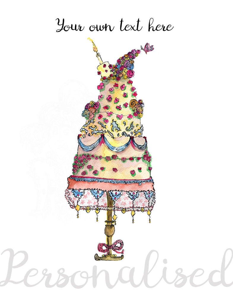 """Special Cake"" - Personalised Print - damedoodah.com  - Art and Design by Katie Rudge"