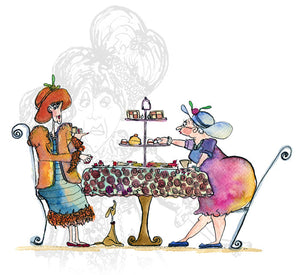 """Tea for Three"" - Cakes Print - damedoodah.com  - Art and Design by Katie Rudge"