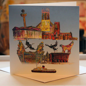"""Liverpool Scene"" Greeting Card - damedoodah.com  - Art and Design by Katie Rudge"