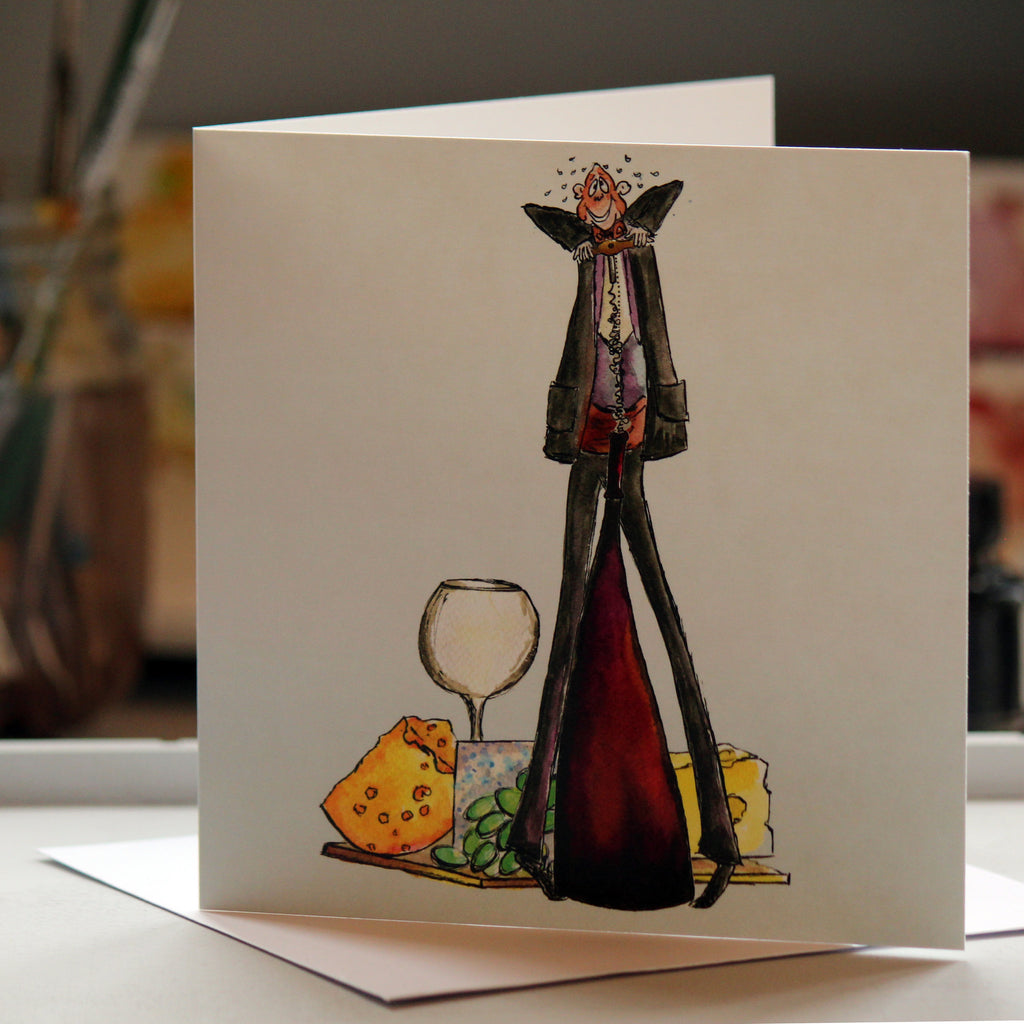 """Cheese and Wine"" - Greeting Card - damedoodah.com  - Art and Design by Katie Rudge"