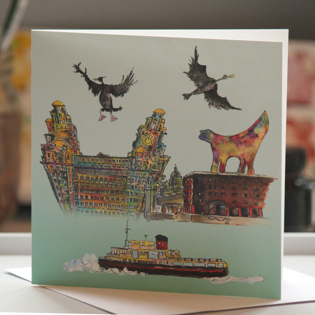 """Ferry 'Cross the Mersey"" Liverpool Greeting Card - damedoodah.com  - Art and Design by Katie Rudge"