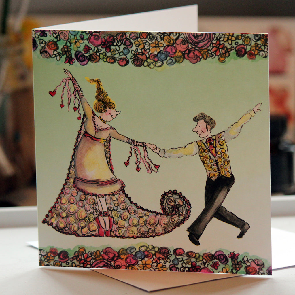 """First Dance"" Greeting Card - damedoodah.com  - Art and Design by Katie Rudge"