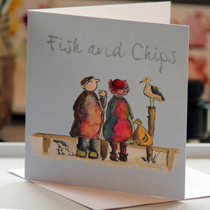 """Fish and Chips"" Greeting Card - damedoodah.com  - Art and Design by Katie Rudge"
