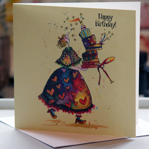 """Happy Birthday! Cake"" - Greeting Card - damedoodah.com  - Art and Design by Katie Rudge"