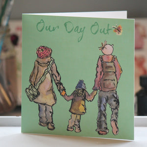 """Our Day Out"" Greeting Card - damedoodah.com  - Art and Design by Katie Rudge"