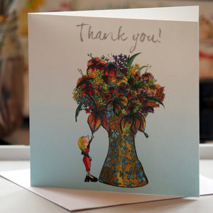 """Thank you flowers""- Greeting Card - damedoodah.com  - Art and Design by Katie Rudge"