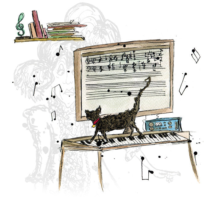 """Kitty Composer"" - Print - damedoodah.com  - Art and Design by Katie Rudge"
