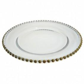 Glass Gold Beaded Plate Plate Rentuu