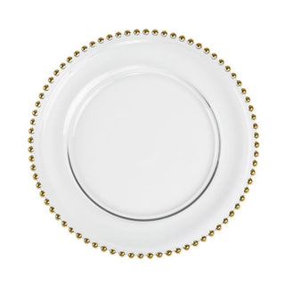 Gold Beaded Glass Charger Plate 13″ Plates Rentuu