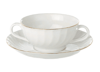 Soup Cup Saucer Gold Line (packs of 10) Tableware Rentuu