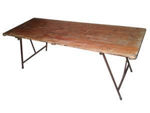 "Wooden Trestle Table 6' x 24"" Trestle Table Rentuu"